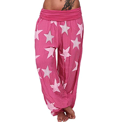 WOZOW Haremshose Damen Sterne Stars Muster Bedrucktes Gefaltet Plissee Mid Waist Pumphose Lose Lang Aladdin Indian Hippie Yoga Baggy Hose Freizeithose Stoffhose Plus Size (2XL,Rot) -