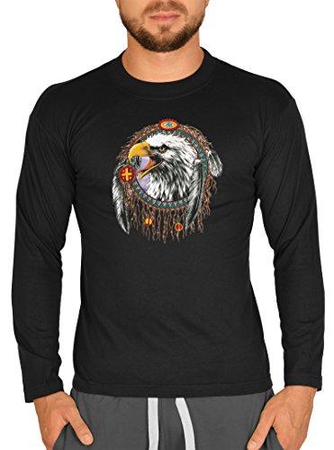 Biker-Style Langarm-Shirt Herren Longsleeve lässiger Indianer Aufdruck: Traumfänger Adler Schwarz