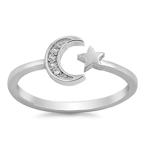 Joyara - Bague Femme - Argent Fin 925/1000 - Oxyde de Zirconium lune et étoile