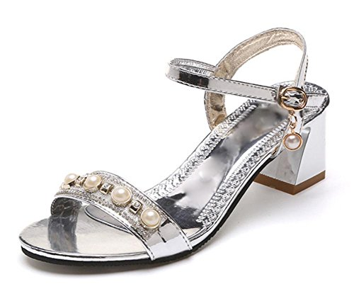 Sommer rau mit Sandalen in flachen Low-Sandaletten mit den Wort cingulären offenen Sandalen und Pantoffeln Frauensandelholzen Strass Silber