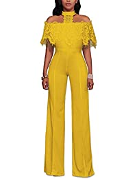 27596597c2 Misschicy Womens Sexy Off Shoulder Halter Lace Wide Leg Pants High Waist  Jumpsuits Rompers Casual Playsuit