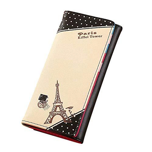 Deloito Damen Mode Paris Eiffelturm Drucken Haspe Geldbörse Lange Brieftasche Kartenhalter Handtasche (Schwarz) (Vintage Paris Handtasche)