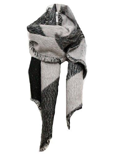 Hengsong Femmes Epais Chaude Foulards Temprament de Laine Couleur Stitching  Grand Chle (Gris) 7e208cea984