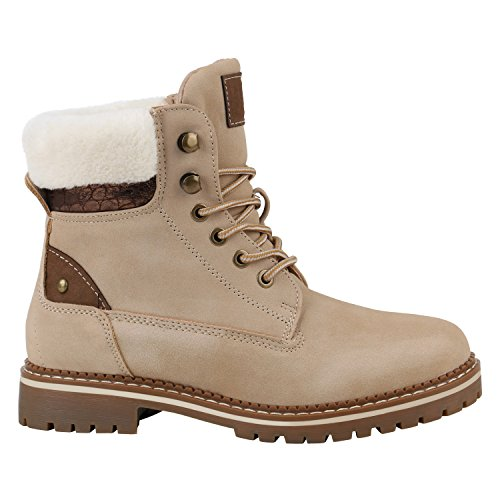 Warm Gefütterte Damen Stiefeletten Fell Worker Boots Outdoor Schuhe 152533 Creme Metallic 39 Flandell