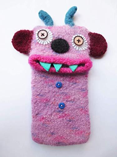 """L Smartphone Monster""""Manfred"""", gefilzt, Handy Tasche, Hülle, passt z. B. für: Samsung Galaxy S6, Samsung Galaxy J3 (2016), iPhone 8, Handymonster, Filz"""