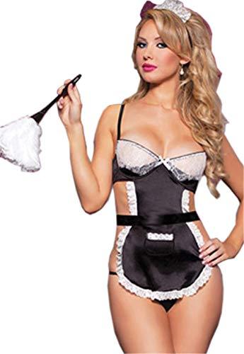 Rapidly Lingerie Damen Sexy Nachtwäsche Reizwäsche Hausmädchen Kostüms,Sexy Dessous Mädchen Magd Halloween Rollenspiele Maid Kostüm Bodysuit