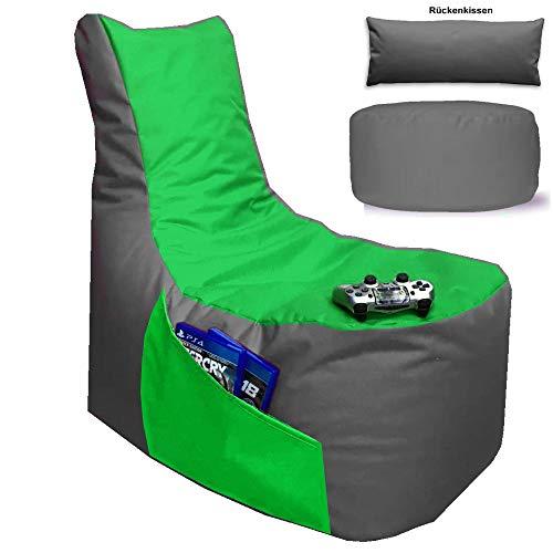 Sitzsack 3er Set BIG GAMER Sessel mit EPS Sytropor Füllung - Rückenkissen - Hocker - In & Outdoor Sitzsäcke Sessel Kissen Sofa Sitzkissen Bodenkissen (BIG GAMER Sitzsack 3er Set 2-farbig, Grau - Grün)