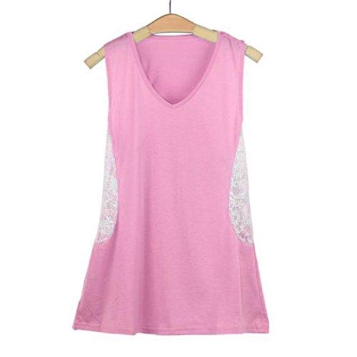 Ineternet Femmes Sexy Summer Dentelle Veste T Shirt Blouse Casual Débardeurs Rose