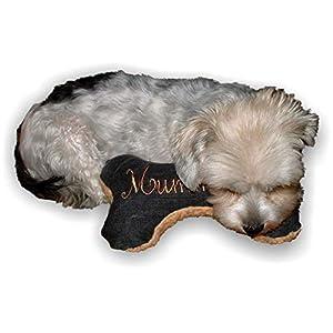 Hunde Spielzeug Natürliche Materialien Kissen Knochen Hundeknochen Quietscher schwarz XXS XS S M L XL XXL bestickt Name Wunschname Hundekissen personalisiert Unikat persönliches Geschenk