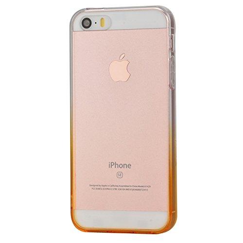 iPhone 5 / 5s / SE Hülle, Yokata Durchsichtig Gradient Weich Jelly Weich Silikon Gel Case Ultra Slim Cover Schutzhülle Sehr Dünn Handyhülle + 1 x Kapazitive Feder Gelb