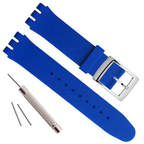 Greenolive 17mm Uhrenarmband Ersatz Silikon Gummi Wasserdicht Armbanduhr Band (blau)