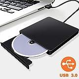 Grabadora CD/DVD Externa USB 3.0 Portátil, ALISTAR Lector Externo de CD/DVD Ultra Silm con Capacidad de Corrección de Errores, Unidad Externa Óptica CD DVD RW para Windows XP/Win 7/8/10/Mac OS
