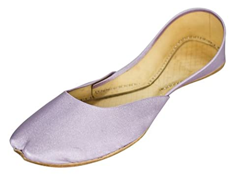 Womens Purple Casual Leather Indian Khussa Shoes Pumps Size 7uk Khu6876