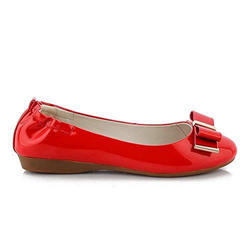 AgooLar Femme Verni Rond à Talon Bas Tire Mosaïque Chaussures Légeres Rouge