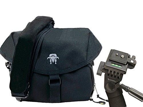Progallio Sparset - Foto-Tasche Kameratasche Typ Southbull Camp L schwarz Set mit Einbeinstativ 180cm inkl. Stativtasche
