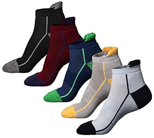 Calzini da running da 5 paia calzini da spugna mezza imbottiti per sneaker da uomo e calzini sportivi per la corsa, atletica, escursionismo, ciclismo