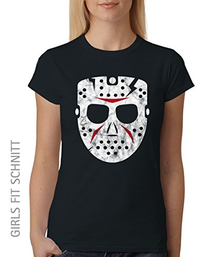 -- Hockey Mask -- Girls T-Shirt Schwarz, Größe (Jason Kostüm Girl)