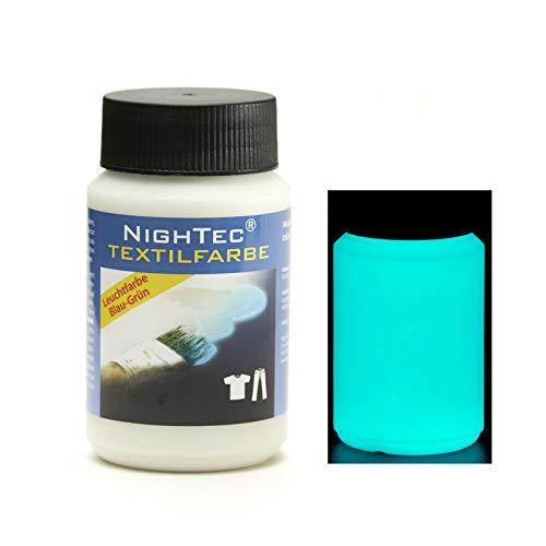 NighTec Textilfarbe Leuchtfarbe 100 ml nachleuchtende Stoffmalfarbe - Profi-Qualität