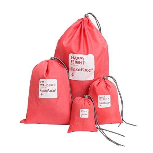 BXT 4 Pcs Aufbewahrungstasche Nylon Drawstring Reisentaschen Geschäftsreise Familie Reisen Wasserdichte Beutel Schuh Beutel Organisator Lagerbeutel Spielraum Speicher von 4 Größe