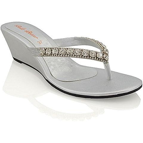 Essex Glam Sandalo Donna con Zeppa Bassa Finto Diamante Effetto