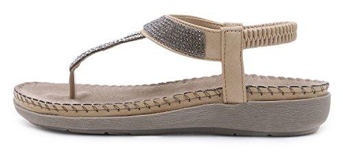 5b1bd69d02c4 Yooeen Women s Boho Clip Toe Sandals Low Flat Heel Flip Flop Sandals Ladies  Rhinestone Bead Summer Beach Sandals Elastic T-Strap Post Thong Shoes  Oversize ...