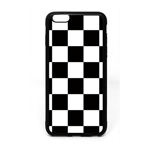 iPhone 6S Plus 14 cm Fall, Schwarz Weiß Kariert Muster Schwarz Soft Gummi TPU Bumper Case, iPhone 6 Plus 14 cm 6 Plus Racing Flagge Design Fall