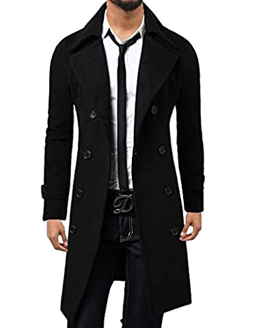 WSLCN Homme Hiver Manteau Long Trench-Coat Chaud Veste Longue Noir FR L (Asie 3XL)