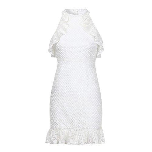 Piebo Damen Spitze Kleider Off-Shoulder Long Sleeve Cocktail Party Bleistift Kurz Mini Kleid Sommerkleid (S, Weiß Trägerlos Kleid) Weiß Trägerlos Cocktail