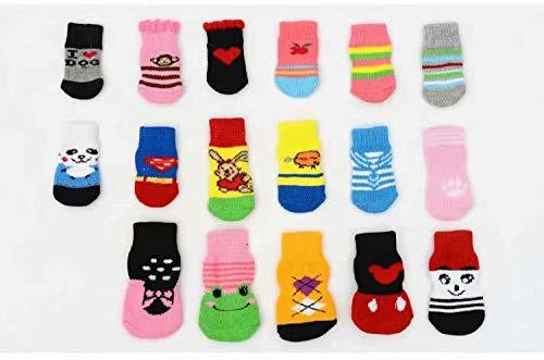 Pfotenschutz Pet Hunde Puppy Katz Schuhe Hausschuhe rutschfeste Socken mit Paw Prints Größe M -
