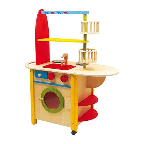 Kinderküche aus Holz mit ausklappbarer Theke,  Spielspaß auf beiden Seiten, mit Waschmaschine sowie Herd  und Ofen -