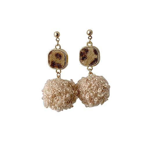 Spaufu baumeln ohrring mit pelzigen Ball Ohrstecker für Dame Girl Frau Ohrringe schmuck täglichen Ohr zubehör Legierung 1 ()