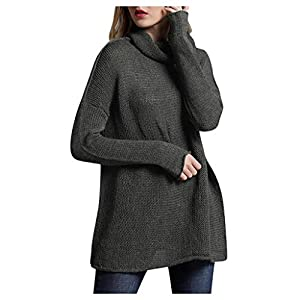 TIMEMEAN Pullover Damen Lang Winter Rollkragen Langarm Einfarbig Lose Sweater
