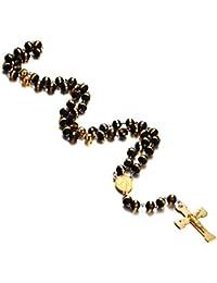 Vnox acier inoxydable chapelet crucifix de longue chaîne catholique la croix d'or collier avec médaille