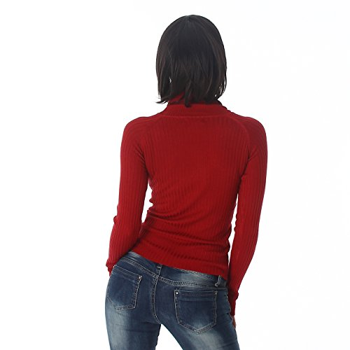 Voyelles Pull Shirt Pullover Sweater Sweat-shirt Collier à col Manches longues Uni Rib tricot Bordeaux
