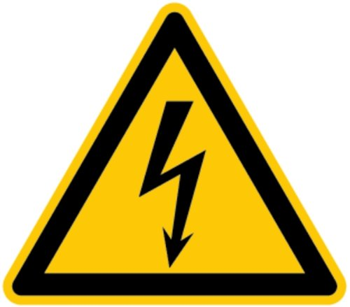 LEMAX® Schild Warnung vor gefährlicher elektrischer Spannung gemäß DIN ISO 7010 Alu 10 cm (Lebensgefahr Strom, Warnschild) wetterfest