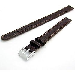 Super long Ladies XXL Leather Watch Band Strap Buffalo Grain 10mm Brown Chrome (Silver Colour) buckle