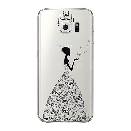 """NOVAGO Coque Galaxy S6 Edge Plus (5.7"""") en gel souple avec impression fantaisie (Robe Noire)"""