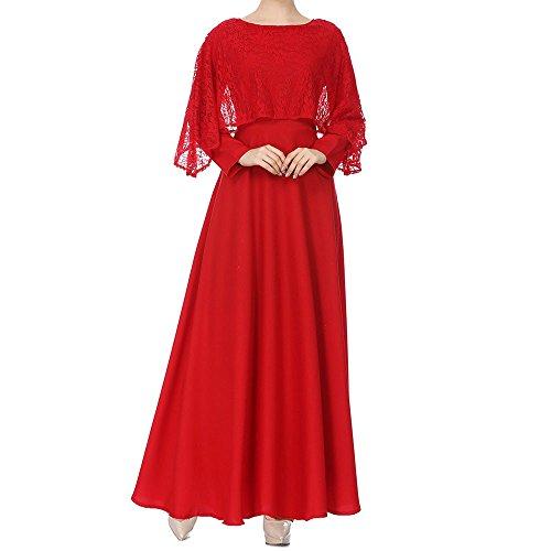 Muslimische Vintage Langarm Kleid Frauen Spitze Patchwork Knöchellang Kleider Tunika Abaya Dubai Damen Casual Abendkleid Hochzeit Kaftan Robe Muslim Lang Maxikleid Islamische Kleidung (Rot, XL)