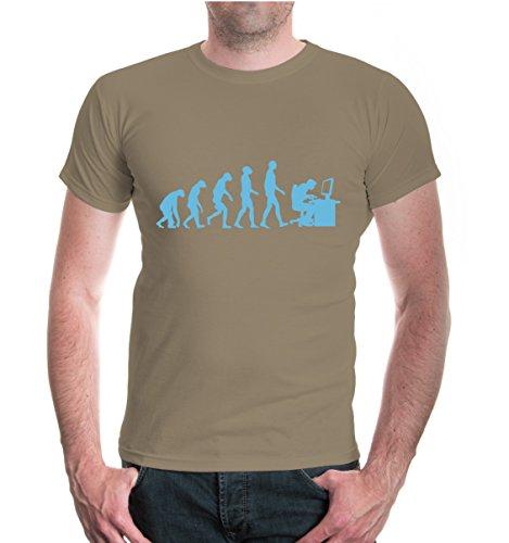 buXsbaum® T-Shirt Evolution of Computer Scientist Khaki-Skyblue