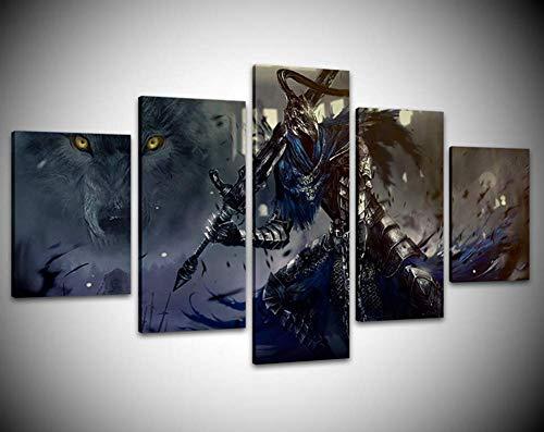 CXDM 5 Stücke Spiel Dark Souls Warrior Poster Wohnzimmer Modular Abstrakte Bilder Wandkunst Rahmen Leinwand Gemälde Home Decor,A,30×50×2+30×70×2+30×80×1 -