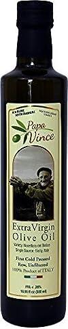 Papa Vince - Huile d'olive extra vierge - Premier froid Pressé, Saison Famille Récolte Unique Sourdé de Sicile, Italie, Non mélangé, Non filtré, Non raffiné, Robuste, Riche en Antioxydants 500 ml