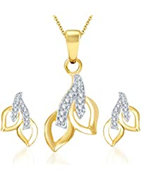 Sukkhi Glimmery Gold And Rhodium Plated CZ Pendant Set For Women