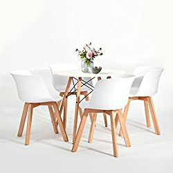 Juego de 4sillas de comedor fanilife con patas de madera maciza de diseño natural sillas de salón, cocina, blanco