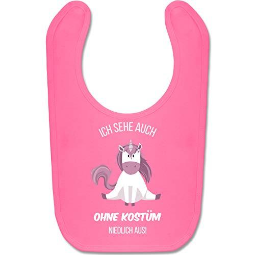 Shirtracer Karneval und Fasching Baby - Ich sehe auch ohne Kostüm niedlich aus Einhorn - Unisize - Pink - BZ12 - Baby Lätzchen Baumwolle