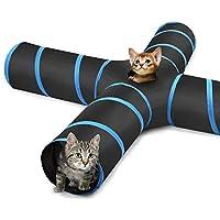 Pawaboo Katzespielzeug Katzetunnel, erweiterbar klappbar Katzespielzeug Katzenhaus mit Pompon und Glocken für Katze Welpen oder Kaninchen