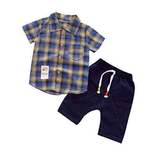 Poachers Poachers Kleinkind Baby Jungen Gentleman Kariertes Kurzarmhemd Und Denim Shorts Setzt Kleidung