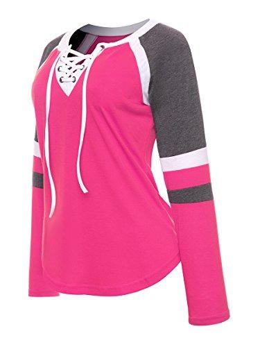 ThiKin Femme T Shirt Manches Longues Col Rond Lacet Rayures Colorées Tops Rose