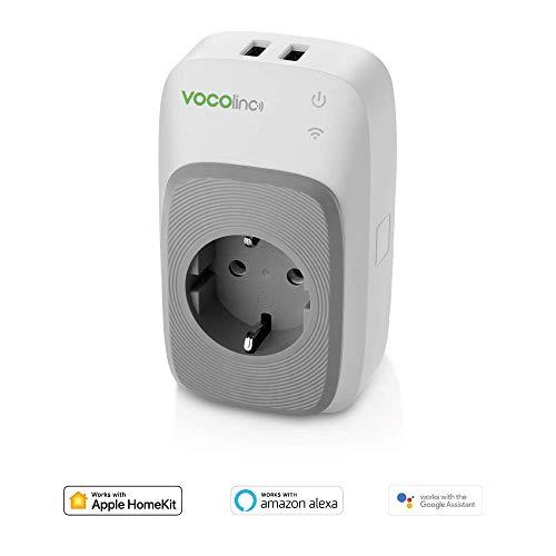 VOCOlinc - Presa Smart PM5 | Funziona con Apple HomeKit, Amazon Alexa e Google Assistant | 2 porte USB | Misuratore di potenza | Controllo della luminosità | Wi-Fi 2,4 GHz