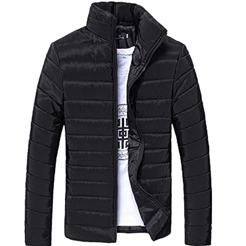 Muium Men Thick Warm Jacket Stand Collar Slim Fit Full Zipper Coat Thick Winter Outwear (M, Black)
