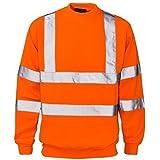 Neu Hi Signalfarben Rundhals Sweatshirt Pullover Warm Works EN471 Reflektierendes Band Sicherheits Passend Für Freizeit Arbeit Arbeitskleidung Wandern Komfortabel ORANGE S,M,L,XL,XXL,3XL,4XL